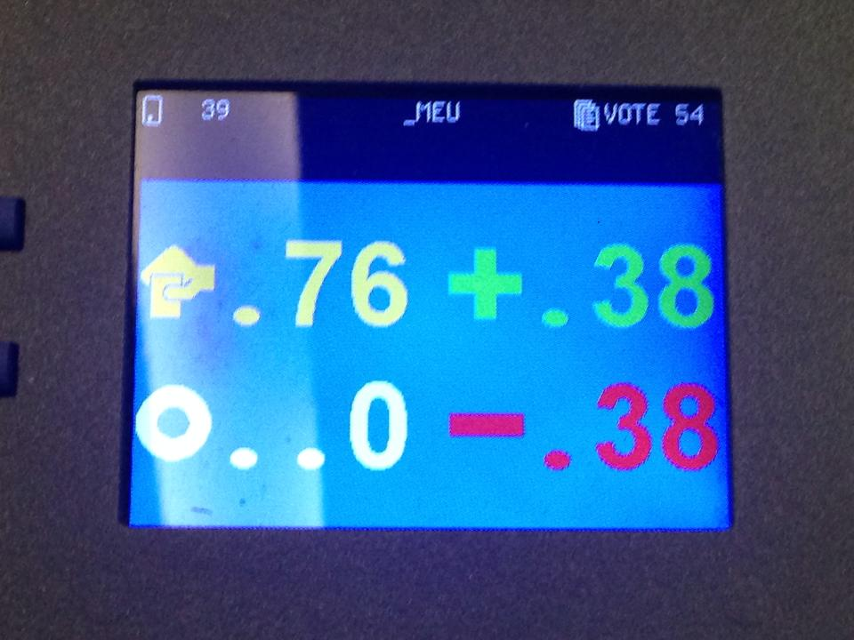 Display of voting terminal in our conference room.